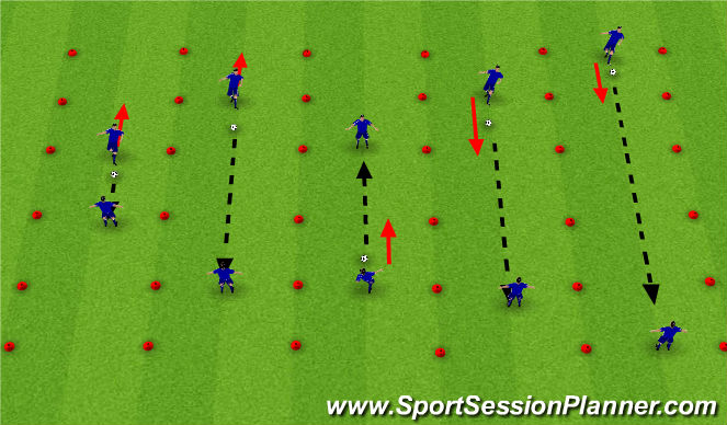 Football/Soccer Session Plan Drill (Colour): One-touch moving pass and receive