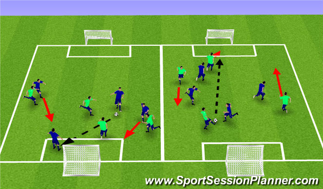 Football/Soccer Session Plan Drill (Colour): 4vs4 pass and move