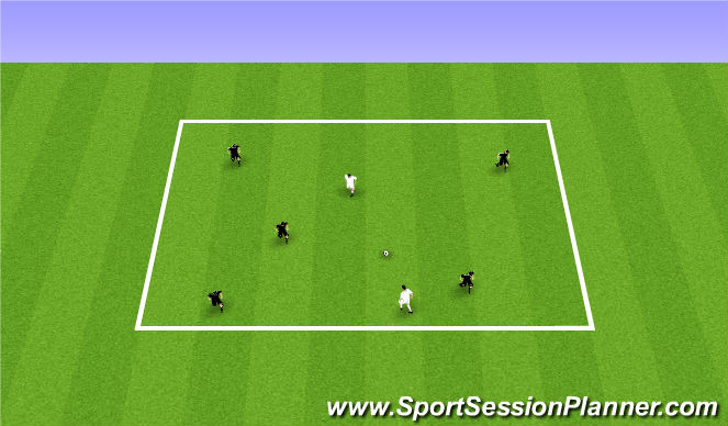 Football/Soccer Session Plan Drill (Colour): 5v2/6v3