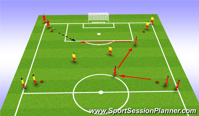 Football/Soccer Session Plan Drill (Colour): 2v2+4 Passing, Possession Combination