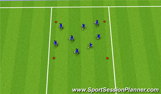 Football/Soccer Session Plan Drill (Colour): Warm up/Intro