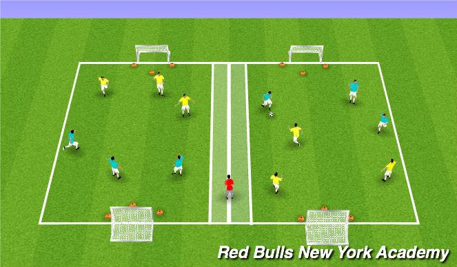 Football/Soccer Session Plan Drill (Colour): Game 3v3/4v4