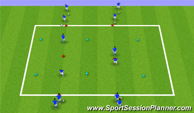 Football/Soccer Session Plan Drill (Colour): 1v1-2v1's