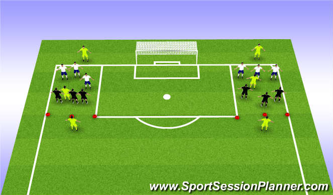 Football/Soccer Session Plan Drill (Colour): 3v3 + 1+1+1