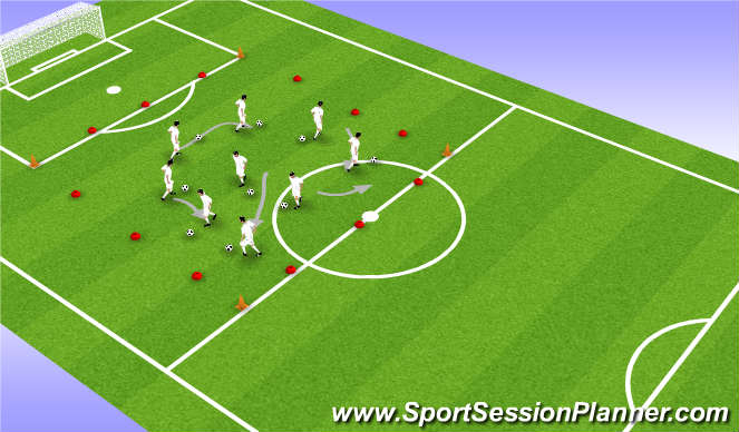 Football/Soccer Session Plan Drill (Colour): Warm-up: Ball Manipulation