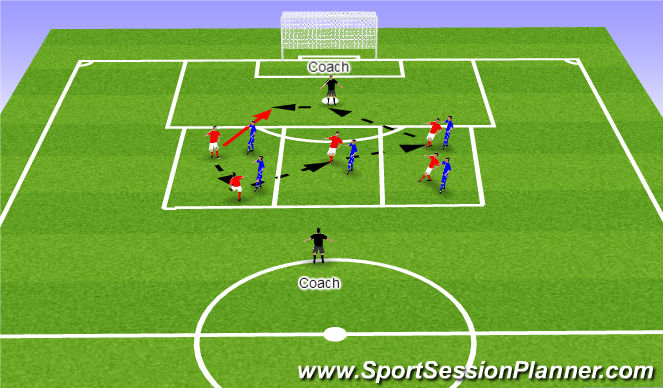 Football/Soccer Session Plan Drill (Colour): Possession to a  Finish