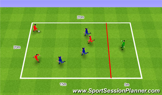Football/Soccer Session Plan Drill (Colour): Gra nr 174. 3v3+1.