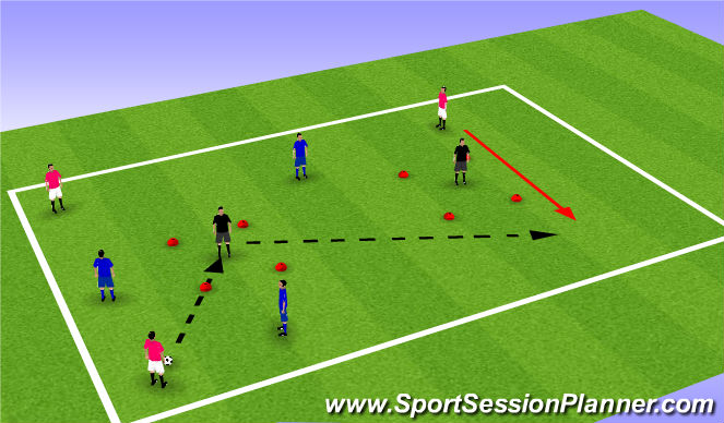 Football/Soccer Session Plan Drill (Colour): Finding the central midfielder 1