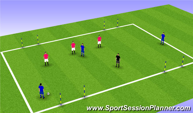 Football/Soccer Session Plan Drill (Colour): finding the central midfielder 2
