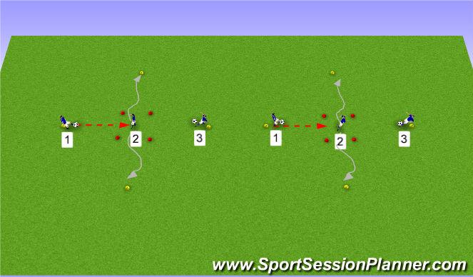 Football/Soccer Session Plan Drill (Colour): passen en aannemen