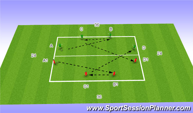 Football/Soccer Session Plan Drill (Colour): Back 4 P/R B
