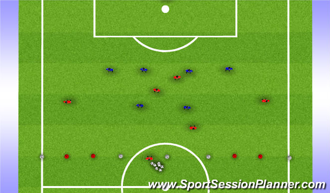 Football/Soccer Session Plan Drill (Colour): Zonal Back 4 - SSG
