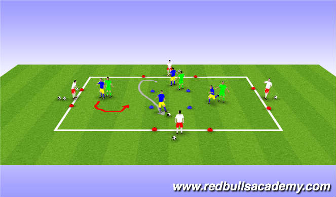 Football/Soccer Session Plan Drill (Colour): Technical warm up.