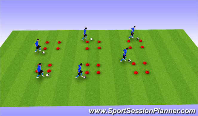 Football/Soccer Session Plan Drill (Colour): BeastMode - Four Cone Drill