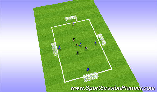 Football/Soccer Session Plan Drill (Colour): 4 Goal Keep Ball