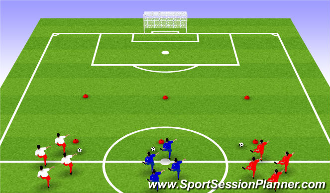 Football/Soccer Session Plan Drill (Colour): Warm up - moves and finish