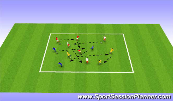 Football/Soccer Session Plan Drill (Colour): Warm up - create  triangles