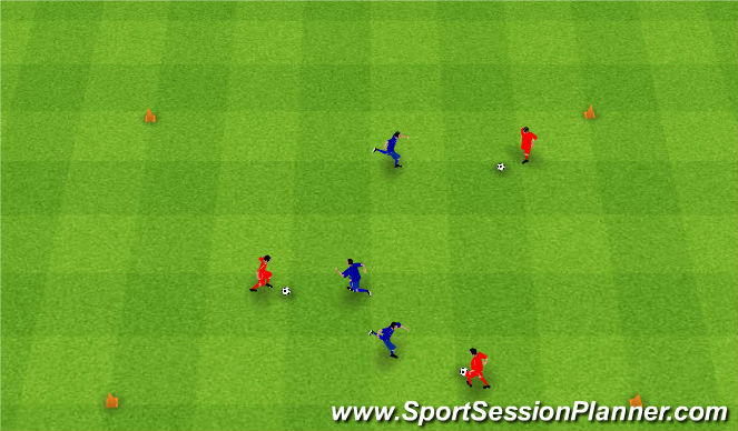 Football/Soccer Session Plan Drill (Colour): Gra 9. 1v1 and 3v3.