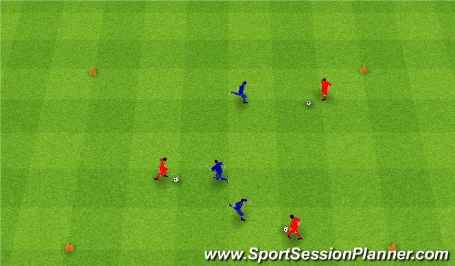 Football/Soccer Session Plan Drill (Colour): Gra 9. 1v1 and 3v3.