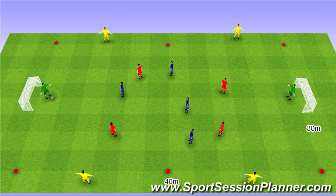 Football/Soccer Session Plan Drill (Colour): Gra nr 157 4v4+4.