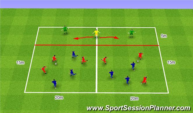 Football/Soccer Session Plan Drill (Colour): Gra nr 175. 3v3+1+1 Defender