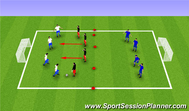 Football/Soccer Session Plan Drill (Colour): MDG - Defending with a Back 4