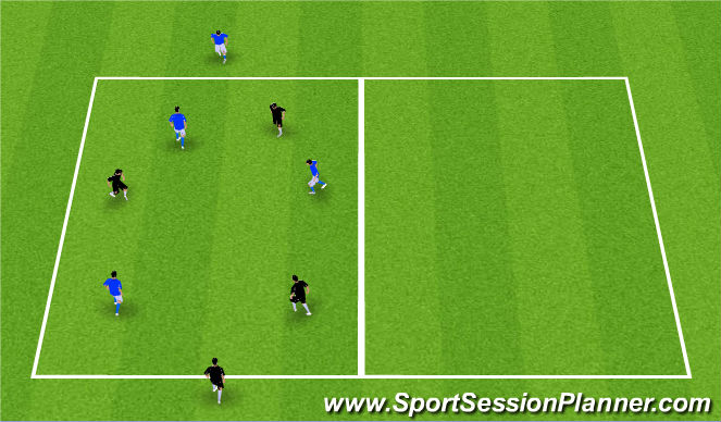 Football/Soccer Session Plan Drill (Colour): Possession 3v3+2 Targets