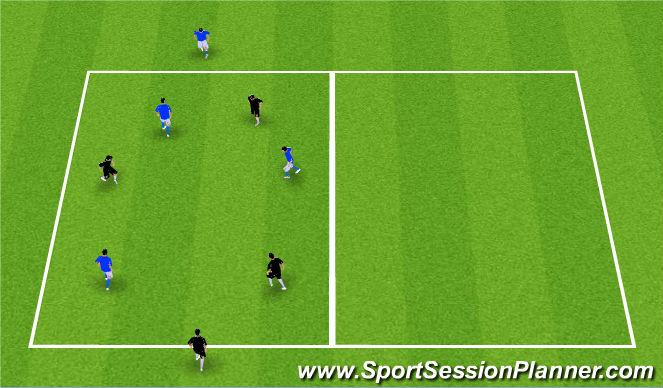 Football/Soccer Session Plan Drill (Colour): Possession 3v3+2 Targets
