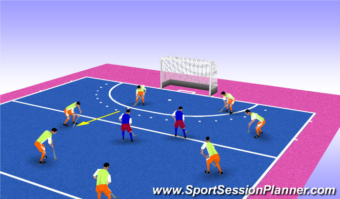 Hockey Session Plan Drill (Colour): RONDO GEGANT