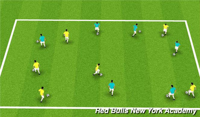 Football/Soccer Session Plan Drill (Colour): Dribbling: Superhero vs. Ciitizen