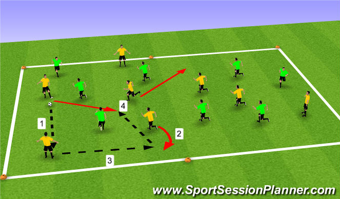 Football/Soccer Session Plan Drill (Colour): 8v8 possession