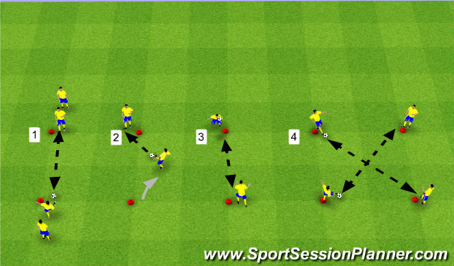 Football/Soccer Session Plan Drill (Colour): Tech. Warm-Up