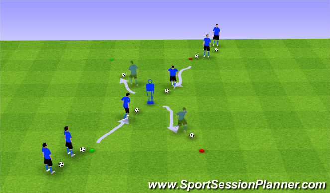 Football/Soccer Session Plan Drill (Colour): Dribbling 20