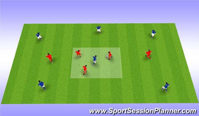 Football/Soccer Session Plan Drill (Colour): Overload to Isolate 3v1 to 5 v 4