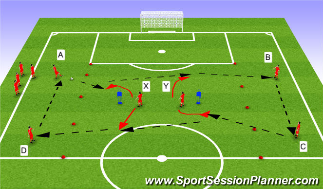Football/Soccer Session Plan Drill (Colour): Switch play unopposed drill