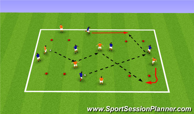 Football/Soccer Session Plan Drill (Colour): 2 Teams with Gates