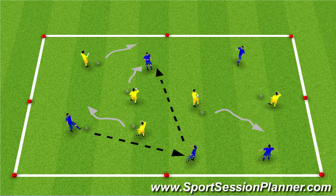 Football/Soccer Session Plan Drill (Colour): Dribbling/Passing