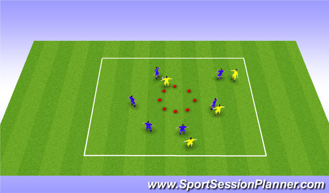 Football/Soccer Session Plan Drill (Colour): 6 v 4 Overload Game