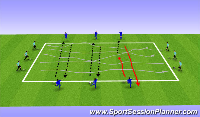 Football/Soccer Session Plan Drill (Colour): Passing/Dribbling/Ball Mastery