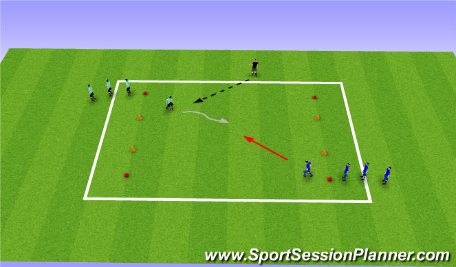 Football/Soccer Session Plan Drill (Colour): 1v1/2v1 SSG