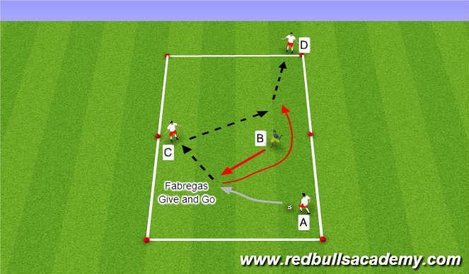 Football/Soccer Session Plan Drill (Colour): Open Lane - Fabregas Combination