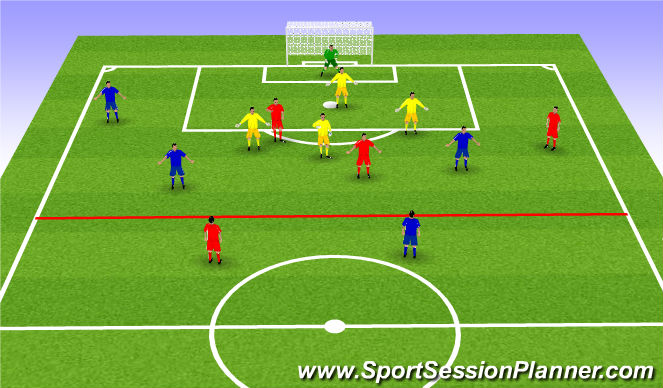 Football/Soccer Session Plan Drill (Colour): 6+2v4