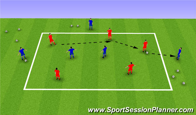 Football/Soccer Session Plan Drill (Colour): 5v2 passing