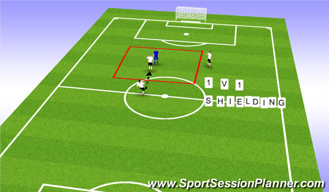 Football/Soccer Session Plan Drill (Colour): 1v1 shielding