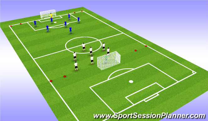 Football/Soccer Session Plan Drill (Colour): 8v8 big goals