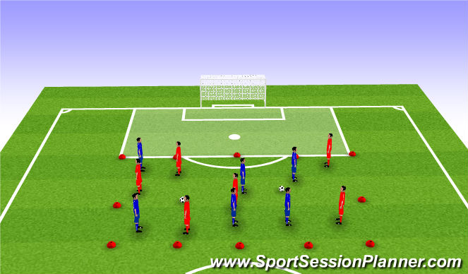 Football/Soccer Session Plan Drill (Colour): Possesion game with a through ball