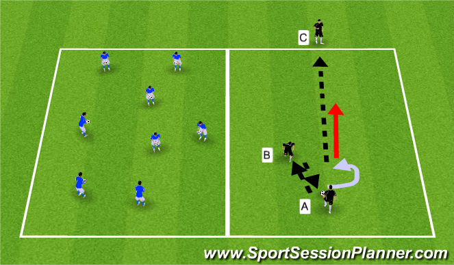 Football/Soccer Session Plan Drill (Colour): Technical Warm-up: Ball familiarity and Ball Striking.