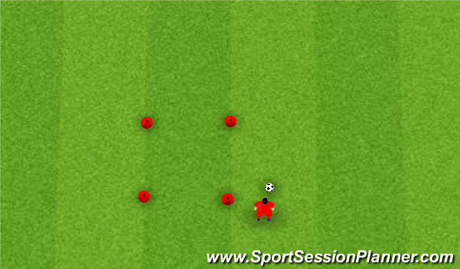 Football/Soccer Session Plan Drill (Colour): 4 Cone Square - Regular