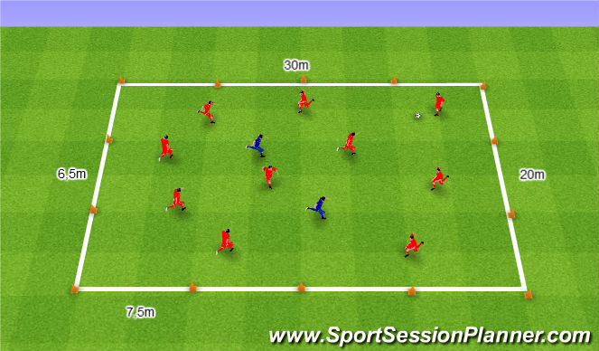 Football/Soccer Session Plan Drill (Colour): Gra 59. 10v2