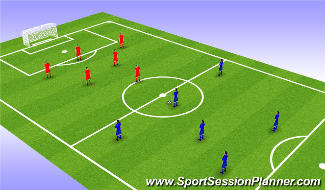 Football/Soccer Session Plan Drill (Colour): Coaching in Game 7v7